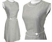 Vintage 60s Dress Mod Mini Gray Summer Sleeveless Shift Saks Fifth Ave S