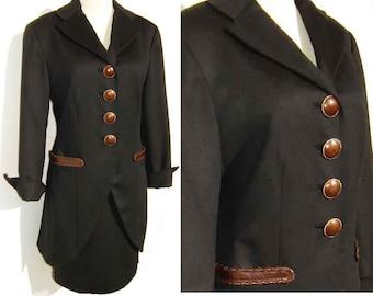 Vintage Christian Dior Suit Black Wool & Brown Leather Paris - M