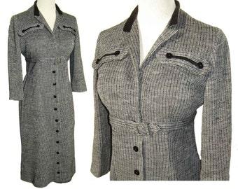 Vintage 60s Dress Modernist Secretary Black & White Wool Striped Velvet M