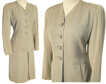 Vintage 40s Dress Suit Womens WWII Swing Tailored Jacket & Skirt FLSA Light Gray - M