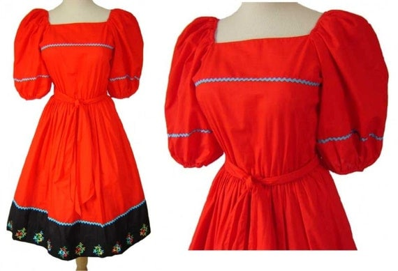 Vintage 70's Red Fiesta Patio Square Dance Dress Size 9\/10