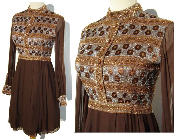 Vintage 60s Dress Mini Babydoll Mod Gold & Silver Metallic Embroidered Brown Chiffon Party S