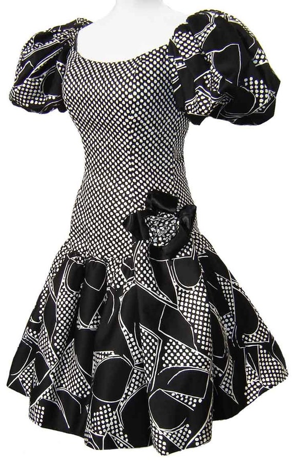 Vintage 80s Dress Victor Costa Black & White Polka Dot Party Cocktail Prom S / M