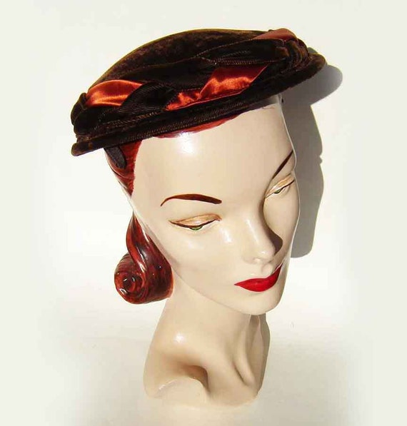 Vintage 50s Hat Brown Velvet & Orange Satin Braid Lucy Cocktail Cap