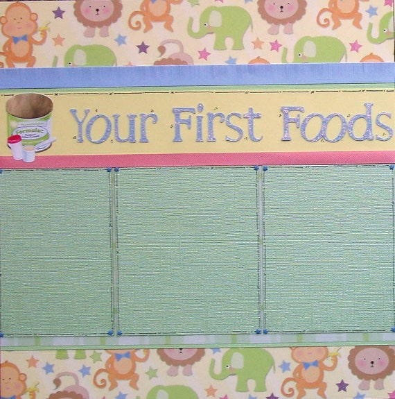 12x12 double page scrapbook layout Baby's First Foods