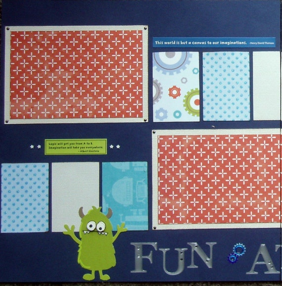 CLEARANCE 12x12 premade Little Boy at Play scrapbook  layout