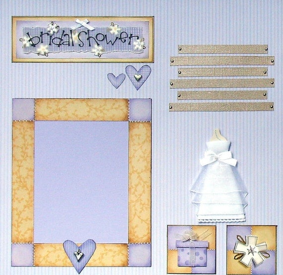 CLEARANCE 12x12 Custom Pre-made Scrapbook layout Wedding shower/Bridal Gown