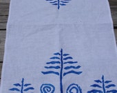 Blue Fern and Fiddlehead Tea Towel