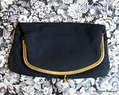 Clearance Sale Vintage Black Clutch Retro Glam Hollywood Style Kisslock CopperLocks Vintage Kila Rohner San Diego California
