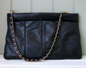 Vintage Four Seasons Black Leather Purse Handbag Clutch Four Seasons of California Boutique San Diego USA