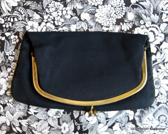 Clearance Sale Vintage Black Clutch Retro Glam Hollywood Style Kisslock CopperLocks Vintage Kila Rohner San Diego California