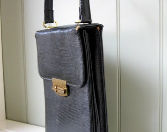 Vintage Handbag Black Faux Croc Rectangular