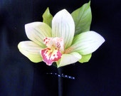 Weddings Men's Kanoa Black and Green Orchid Boutonniere- Beach