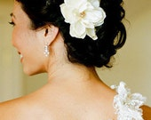 Eternity Champagne Ivory Bridal Peony Hair Flower Fascinator with Gold Pearls- Weddings- Bride- Bridesmaid- Gift