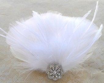 Glamorous Carlotta White Feather Bridal Hair Fascinator, Rhinestone, Pendant- Wedding- Elegant