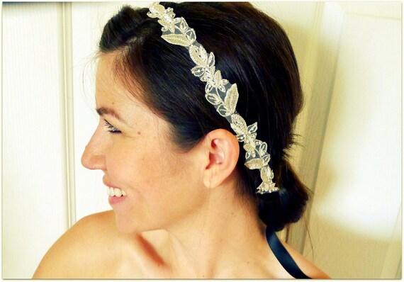 SALE Blair Beaded White, Silver, & Black Headband, Bridal, Romantic, Leaves, Satin, Ribbon, Head Piece
