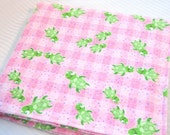 Baby Receiving Blanket, Flannel Baby Blanket - Large, Green Turtles on Pink Checks