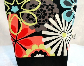 Insulated Lunch Bag - Michael Miller Flower Shower Clementine