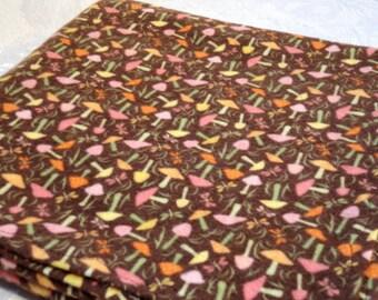 Large Cotton Flannel Receiving Blanket, Baby Blanket - Mushroom & Butterfly Print on Brown