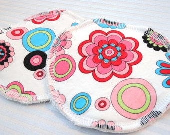 Reusable Nursing Pads, Waterproof Organic Cotton Flannel - Bright Floral on White