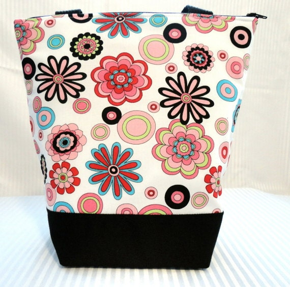 Insulated Lunch Bag - Bright Floral on White