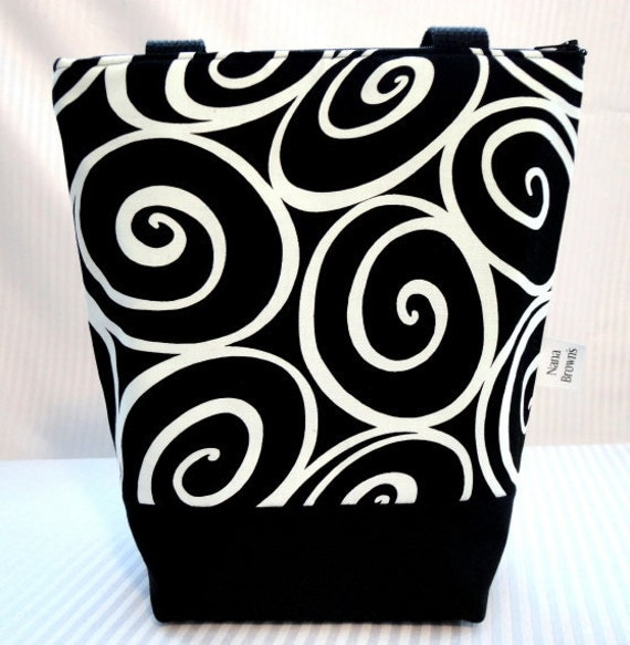 Insulated Lunch Bag - Michael Miller Black & White Ironworks