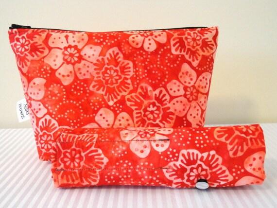Small Makeup Brush Roll & Zipper Pouch Set in Red Batik