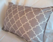 FREE US SHIPPING-Decorative Designer pillow Cover-12x18-Two Toned Grey Trellis