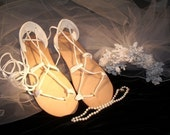 BRIDAL Sandals, BELLA CARIBE Leather Lace Up White Deerskin