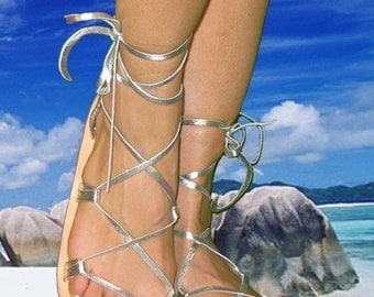 BELLA CARIBE Leather Lace Up Sandals,  SILVER Metallic