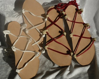 Tahiti Leather Lace Up Sandal, YOUR choice of color