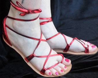 BELLA CARIBE Leather Lace Up Sandals  Candy Apple RED   Metallic