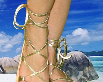 OASIS BELLY DANCE Sandals, Leather Lace Up, Metallic Gold