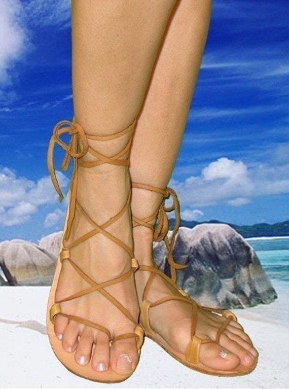 Bella Caribe Lace-up Leather Sandals  Dusk Brown Deerskin