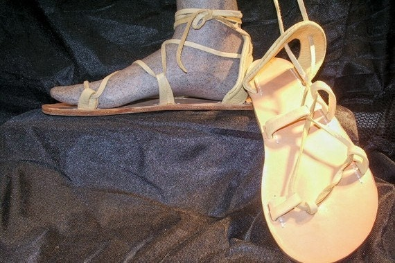 BELLA CARIBE, Leather Lace Up Sandals, PALOMINO Deerskin
