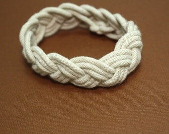 Sailor Knot Bracelet White Rope Braided Turks Head Knot Nautical