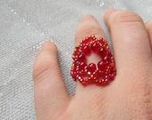 Beaded Ring Red Flower of Life