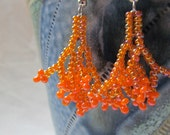 Beaded Earrings Orange Coral Vine Small