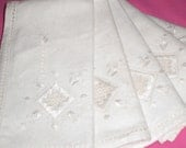 Vintage linens. Five linen, hand embroidery Lefkara style napkins.