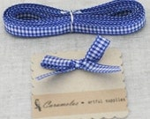"Deep Discount Clearance! 3/8"" Blue Gingham Check ribbon 25 yard roll"