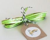 Citrus Green Sparkle Satin Twine Ribbon 5 yards