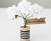 2 bunches of  White  Pom paper flowers