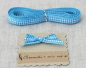 Deep Discount Clearance! Aqua Blue Gingham Check ribbon 25 yard roll