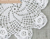 6 White Crochet Cotton Doilies