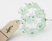 Clearance! 12 Frosted  Green Acrylic Flowers