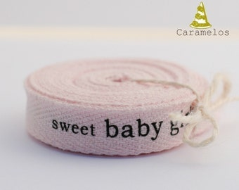 Clearance! 25 yard roll of Sweet Baby Gilr pink twill tape