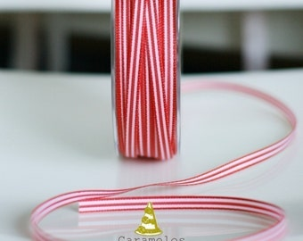 Red and White Stripe Grosgrain Ribbon