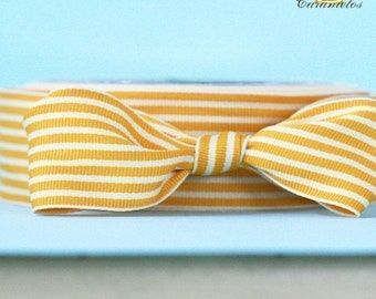 Caramel and Cream Stripe Grosgrain Ribbon