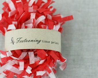 4 Yds of Red and White Tissue Garland