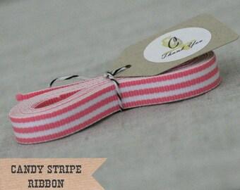 Pink Candy Stripe Ribbon 4 yards